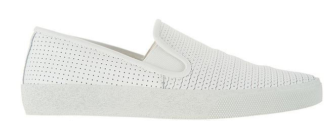 Vince Camuto Leather Slip On Sneakers Cariana White - NEW