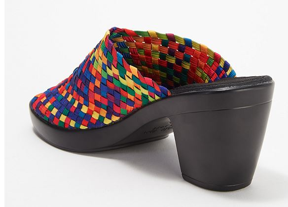 Bernie Mev Basket Weave Peep-Toe Mules Sun Texas Rainbow - NEW