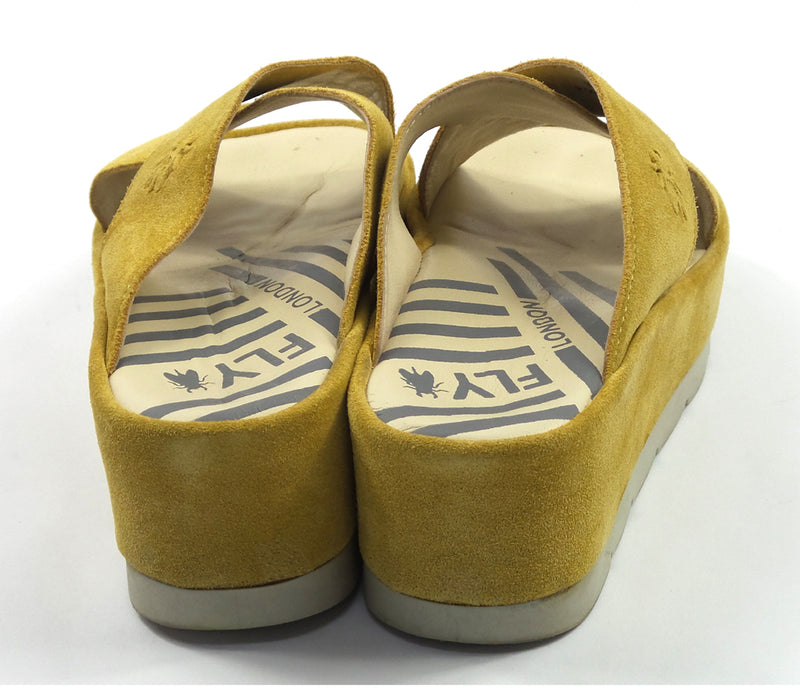 FLY London Suede Platform Slides Begs Honey - A