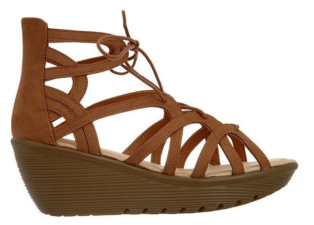 Skechers Lace-Up Wedges Terrace Tan - NEW