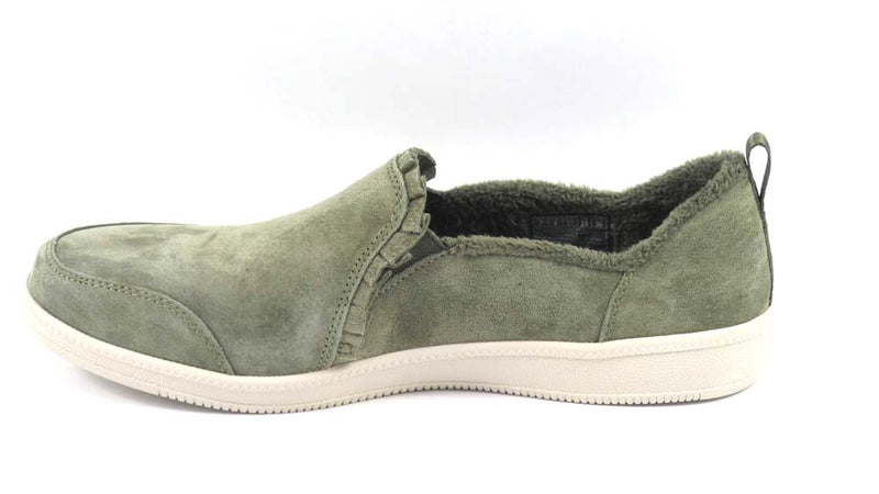 Skechers Suede Ruffle Slip On Shoes Madison Ave Plushed Olive  - NEW