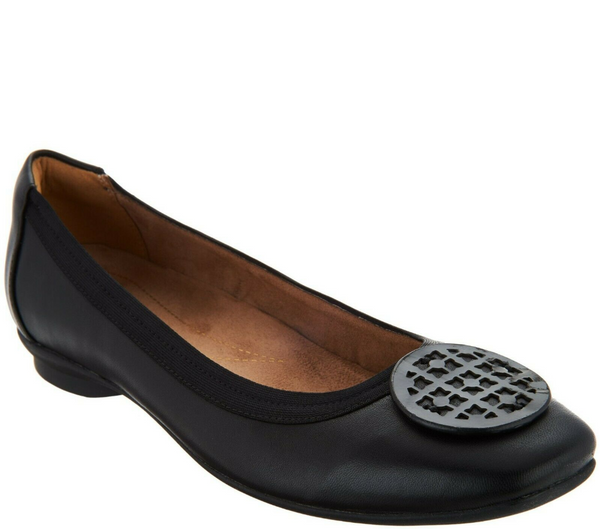 Clarks Artisan Leather Ballet Flats Candra Blush Black Leather - NEW