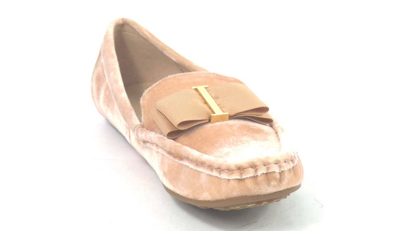 Isaac Mizrahi Live! Velvet Moccasins with Grosgrain Bow Rose Blush - A