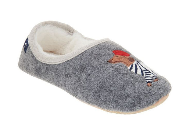 Joules Felt Embroidered Dog Slippers Slippets Grey - NEW
