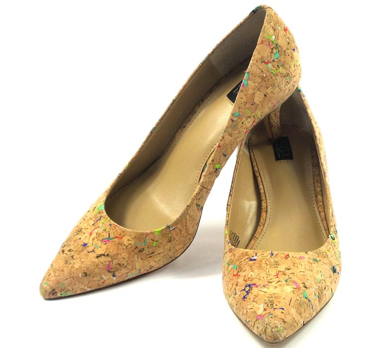 G.I.L.I. Pointed Toe Mid-heel Pumps Georgette Cork Multi - NEW
