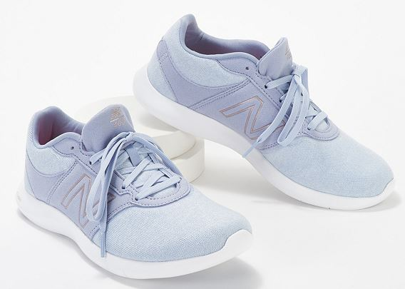 New Balance x Isaac Mizrahi Live! Sweater Lace-Up Sneakers 400 Stone Blue - NEW