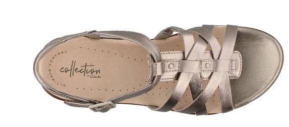 Clarks Collection Leather Sandals Loomis Katey Pewter - NEW