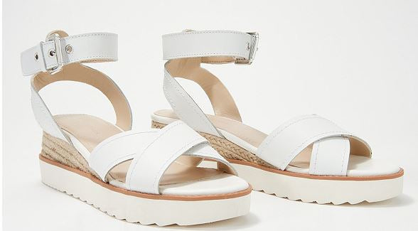 Marc Fisher Leather Cross Strap Wedges Jovana White - NEW