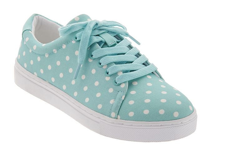 Isaac Mizrahi Live! Lace-Up Polka Dot Sneakers Pool Green - NEW