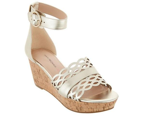 Isaac Mizrahi Leather Wedge Sandals Light Gold - A