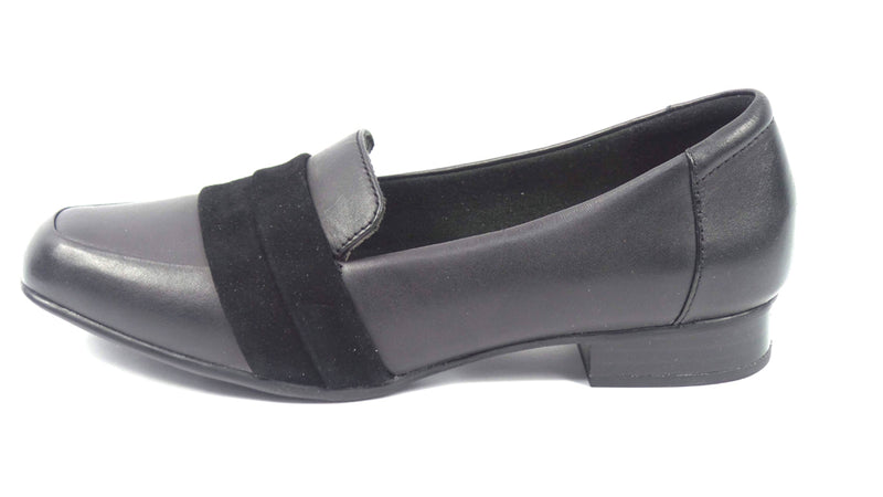 Clarks Collection Leather Slip-On Loafers Juliet Rose Black - NEW