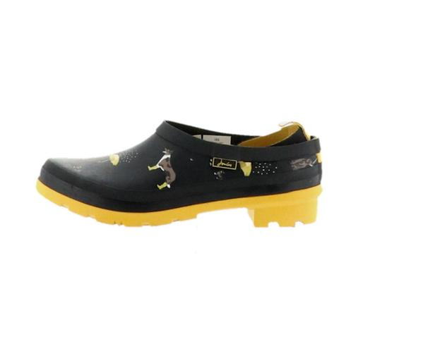 Joules Slip On Welly Clogs Pop On's Black Rain Dogs - NEW