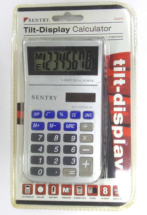 LOT OF 2 Sentry CA373 Tilt-Display Calculator Dual Power
