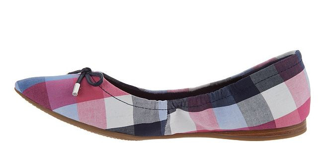 Isaac Mizrahi Live! Plaid Ballet Flats with Bow Multi Blue - NEW