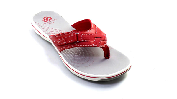 CLOUDSTEPPERS by Clarks Sport Thong Sandals Breeze Sea Red - NEW