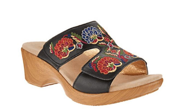 Alegria Embroidered Leather Slip-on Wedge Sandals Linn Black Multi - A