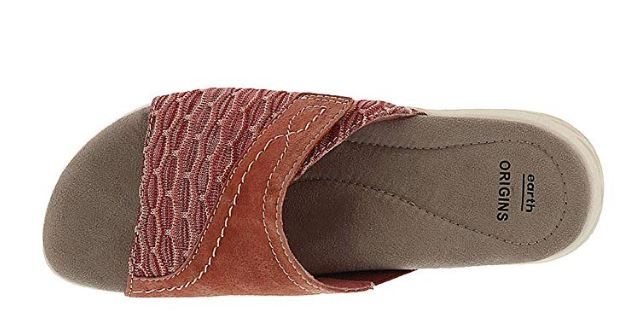 Earth Origins Suede/Knit Sandals Westfield Terracotta - A