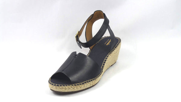 Clarks Artisan Leather Espadrille Wedge Sandals Petrina Selm Navy - A