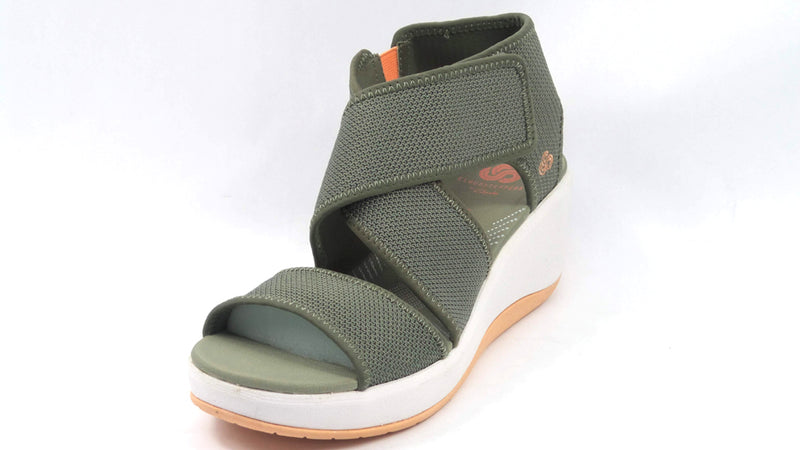 CLOUDSTEPPERS by Clarks Cross Strap Wedges Step Cali Palm Dusty Olive - A