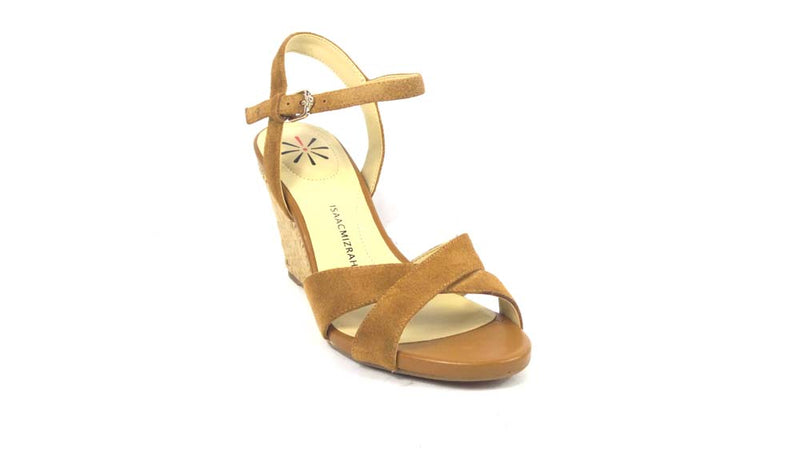 Isaac Mizrahi Live! Leather & Suede Crossover Strap Wedge Hazelnut - NEW