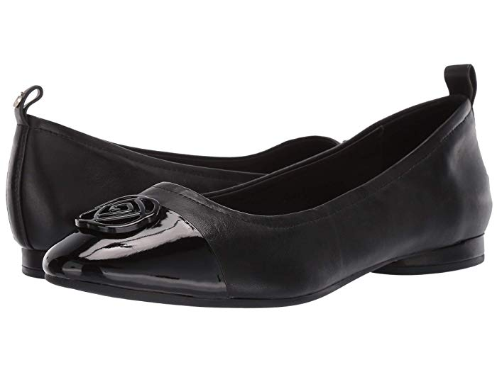 Taryn Rose Leather Cap Toe Flats Penelope Black - A