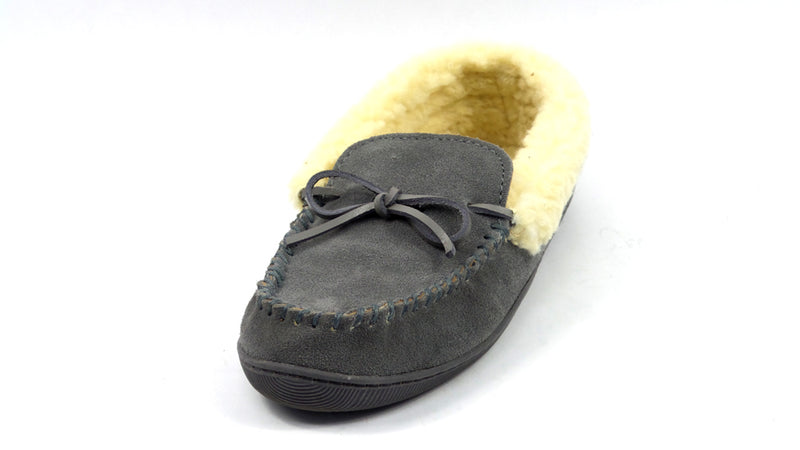 Clarks Suede Women's Slipper with Faux Shearling Grey - A