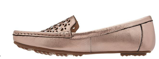 Isaac Mizrahi Live! Leather Studded Moccasins Rose Gold - NEW