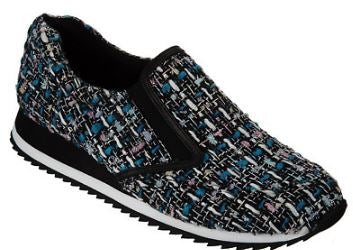 LOGO by Lori Goldstein Novelty Tweed Slip-on Sneakers Blue Tweed - NEW