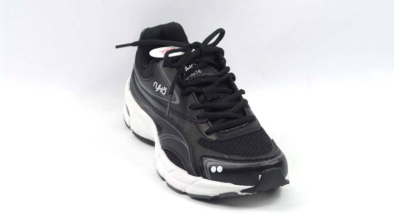 Ryka Mesh & Leather Lace-up Walking Sneakers Infinite 2 Black - NEW