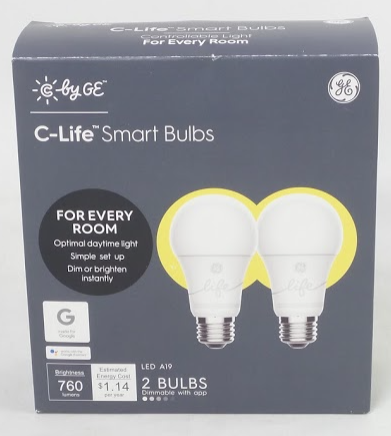 GE C-Life A19 Soft White Dimmable Smart Bulbs - NEW