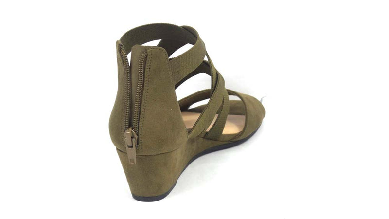 Isaac Mizrahi Live! Stretch Cross Band Wedge Sandal Olive - NEW