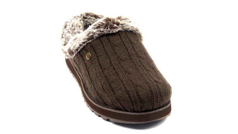 Skechers Sweater Knit Faux Fur Slippers Ice Angel Chocolate - NEW