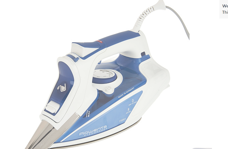 Rowenta Steam Power 1750W Iron with Precision Tip Soleplate Blue - A