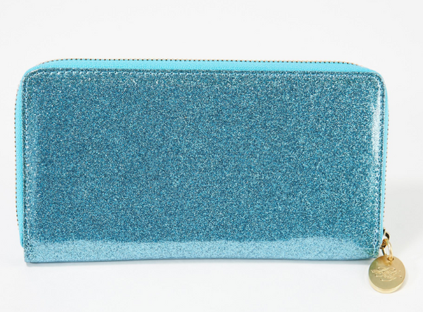 Kirks Folly Glitter Goddess Zippered Wallet Aqua - NEW