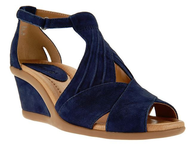Earth Suede Peep-Toe Wedge Women's Sandals Curvet Navy - NEW
