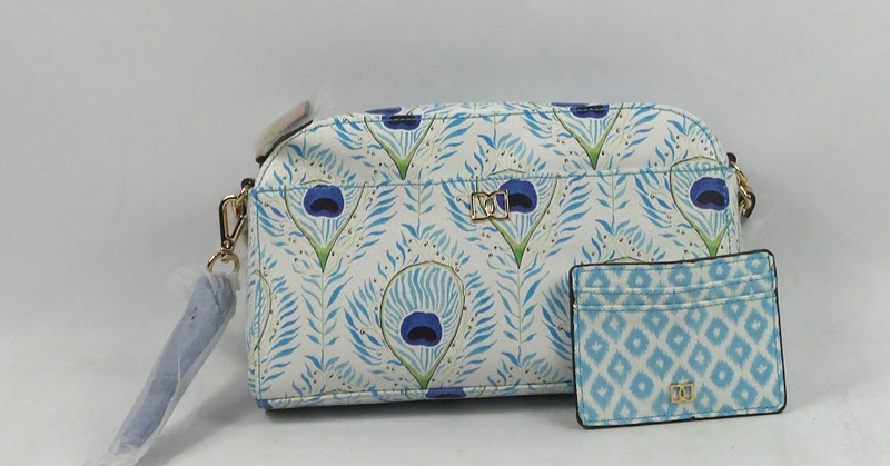 DENA Camera Bag Crossbody with Card Case Blue Peacock - NEW