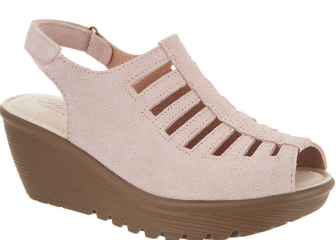 Skechers Suede Peep toe Sling back Wedges Trapezoid Blush - A