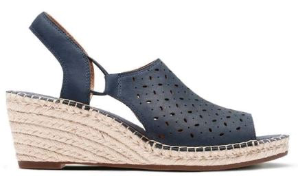 Clarks Artisan Leather Espadrille Wedge Sandals Petrina Gail Navy - A