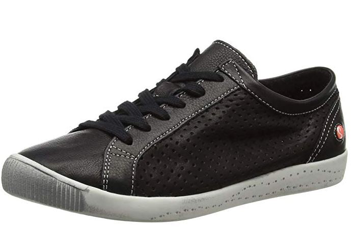 Softinos by FLY London Leather Lace Up Sneakers Ica Black  - A