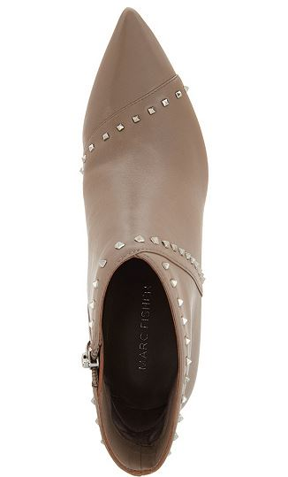 Marc Fisher Leather Studded Pointy Toe Booties Riva Taupe - NEW