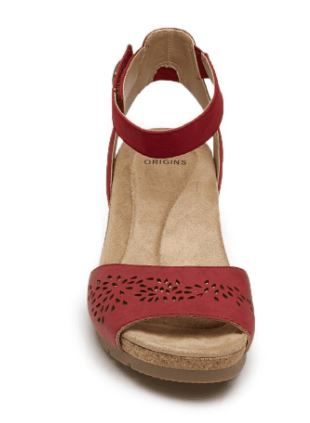 Earth Origins Leather Wedges with Ankle Strap Kendra Krystal Red - NEW
