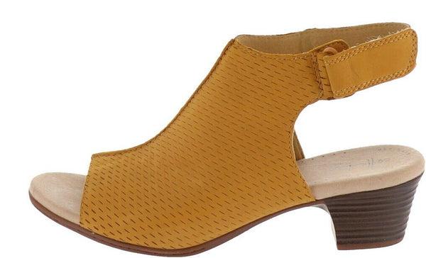Clarks Collection Leather Heeled Sandals Valarie James Golden Yellow - NEW