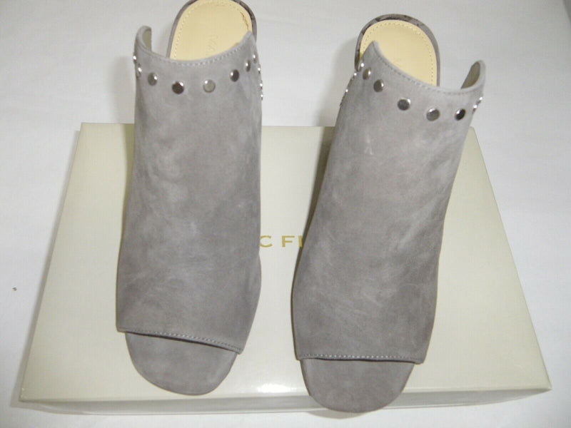 Marc Fisher Leather or Suede Studded Mules Dalilah Grey - A