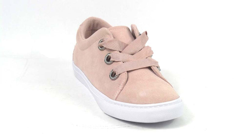 Isaac Mizrahi Live! SOHO Grosgrain Lace-Up Suede Sneakers Blush - A