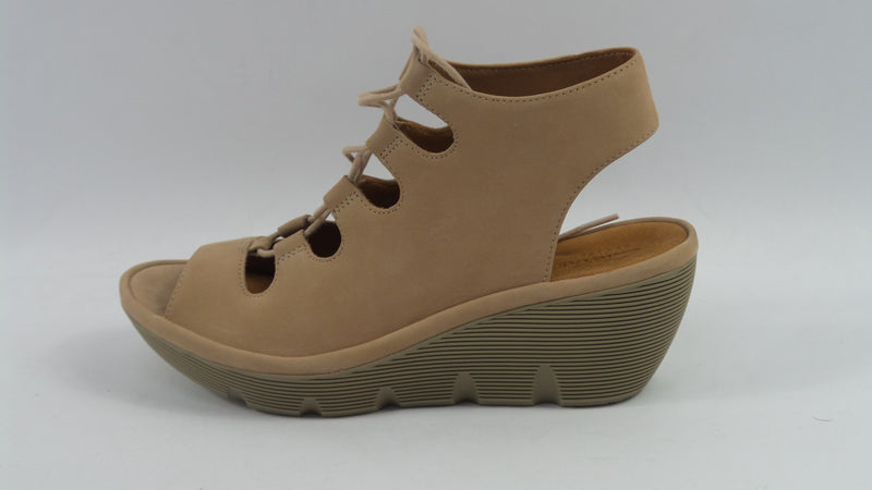 Clarks Artisan Leather Ghillie Wedge Sandals Clarene Grace Sand - NEW