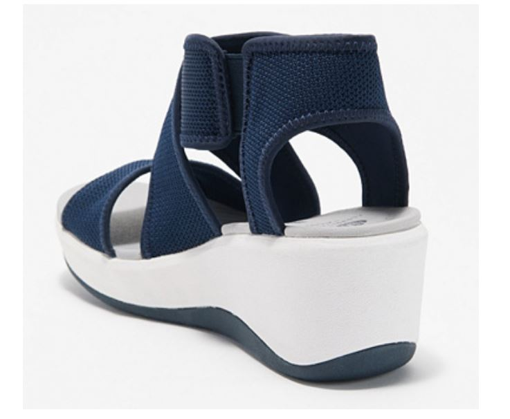 CLOUDSTEPPERS by Clarks Cross Strap Wedges Step Cali Palm Navy - A