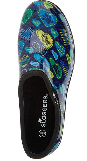 Sloggers Waterproof Cross Stitch Paw Prints Garden Shoe Blue - NEW