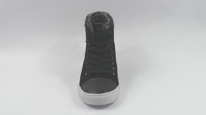 Isaac Mizrahi SOHO Sneakers with Sweater Knit Detail Black - NEW