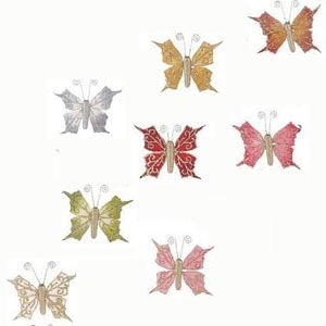 Set Of 8 Clip-On Glittery Butterfly Ornaments H16930