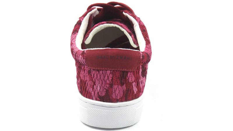Isaac Mizrahi SOHO Quilted Camo Printed Lace-Up Sneakers Berry - NEW